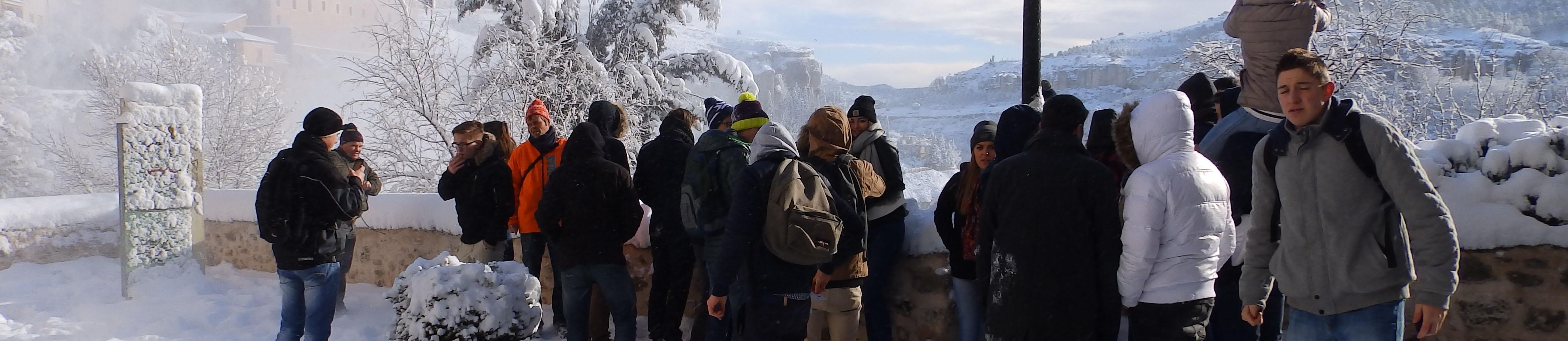 Cuenca nevada durante visita guiada
